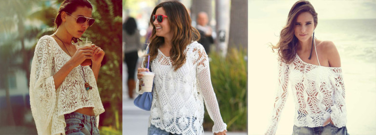 exemplos de blusa de crochê branca