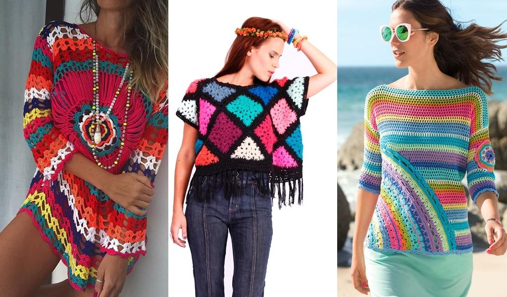 blusas de crochê coloridas