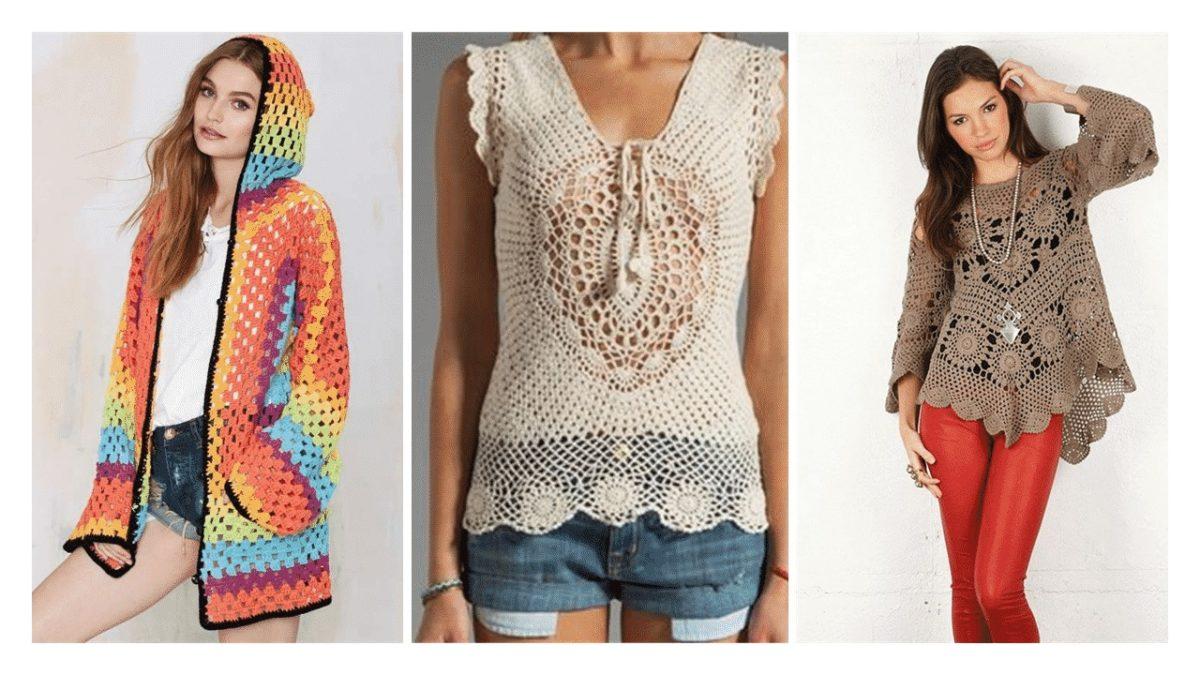 blusas de crochê coloridas ou cores neutras