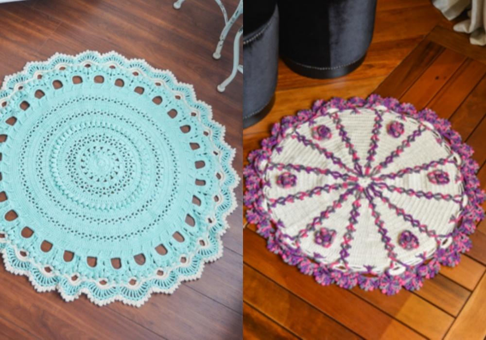 tapete redondo de crochê azul e roxo