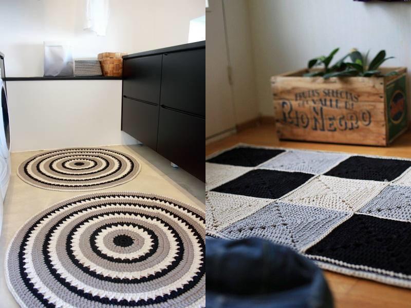tapetes de crochê preto e branco e cinza
