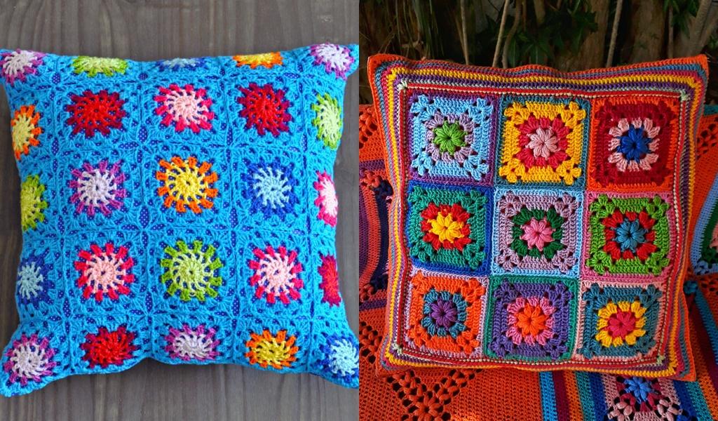 almofadas coloridas crochê