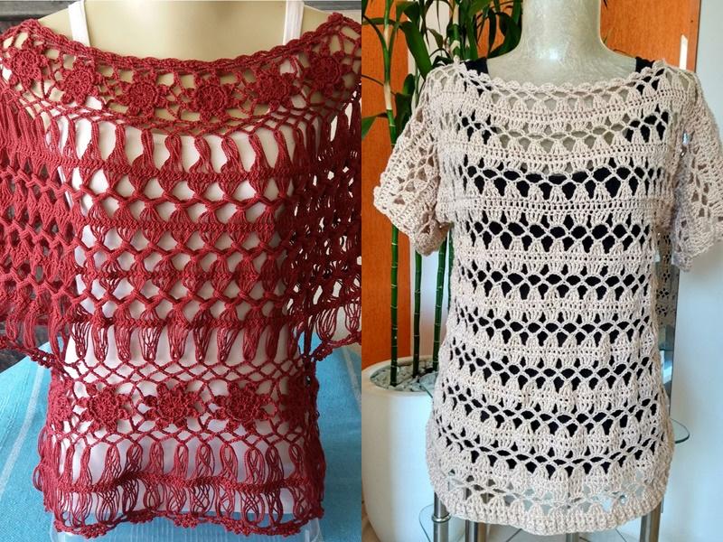 exemplos de blusas feitas de crochê de grampo