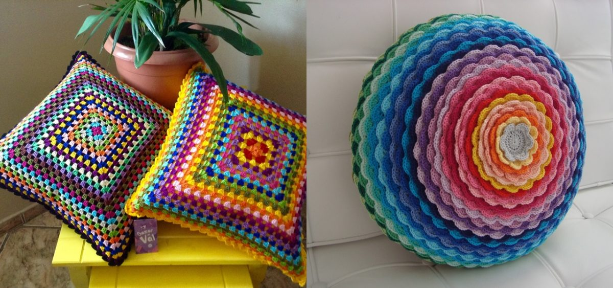 Almofadas de crochê coloridas