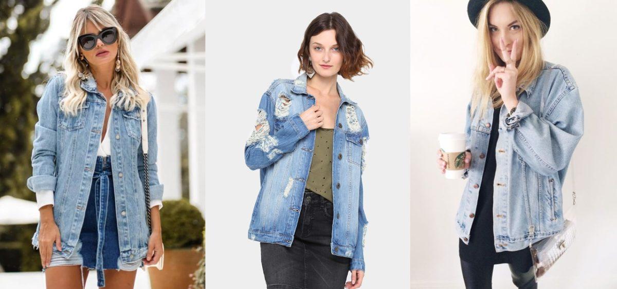 modelos usando jaqueta jeans em looks casuais