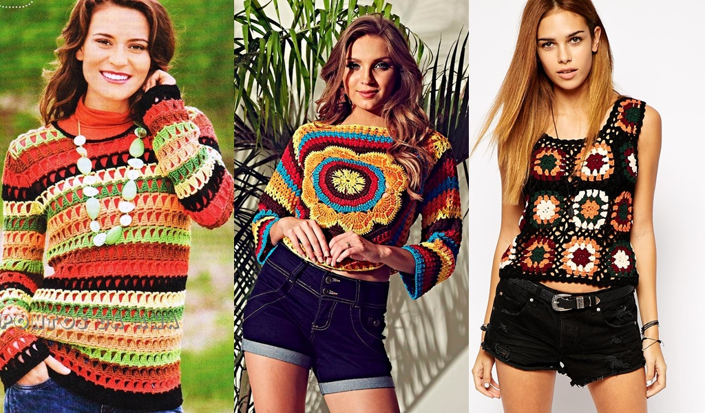 modelos de blusa de crochê colorida