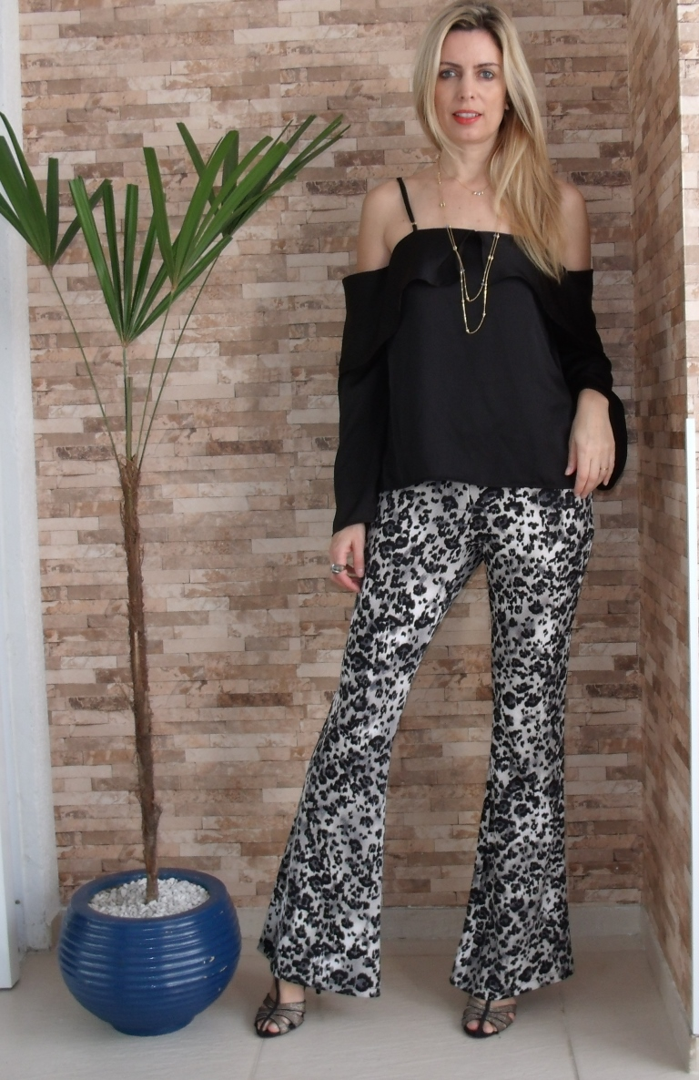 look com calça animal print