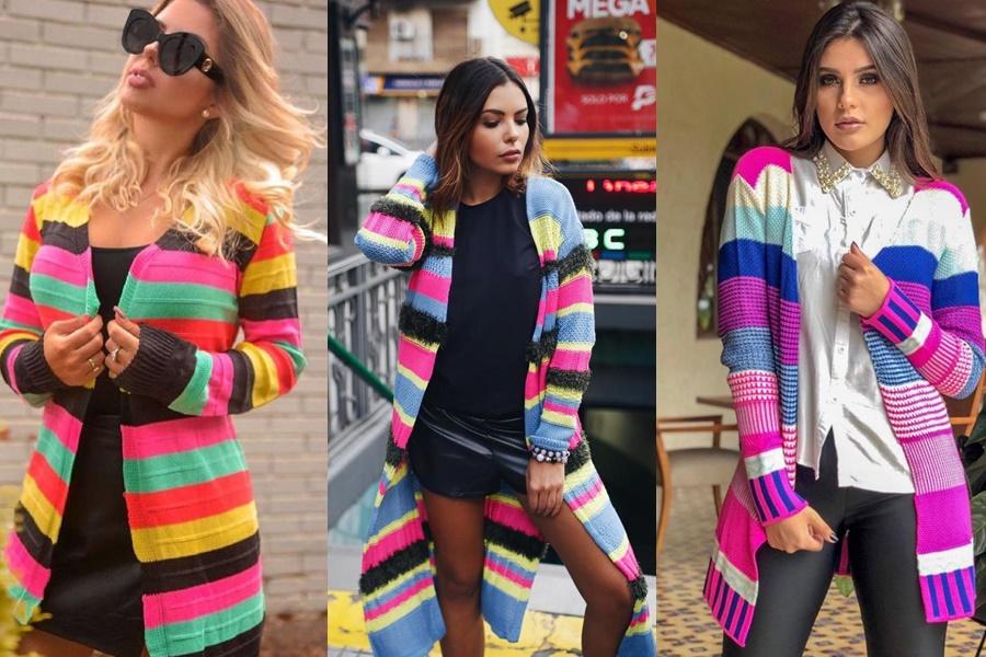 cardigans coloridos com cores chamativas