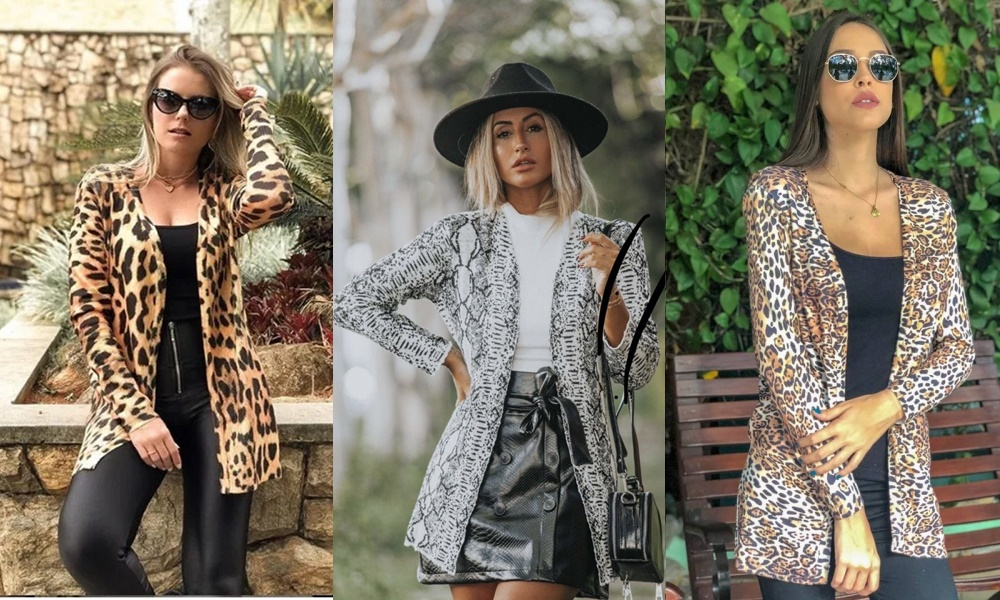 modelos de cardigan animal print