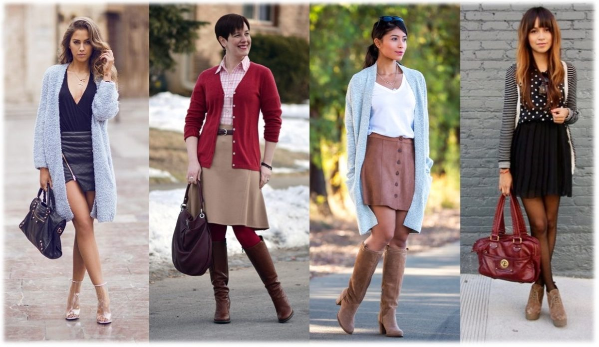 mulheres vestindo o cardigan de diversas formas