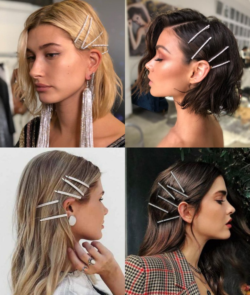 presilhas de cabelo modelo grampo com strass