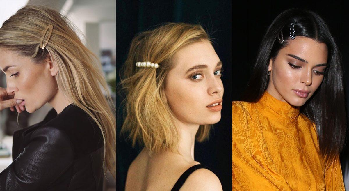 3 mulheres usando presilhas de cabelo