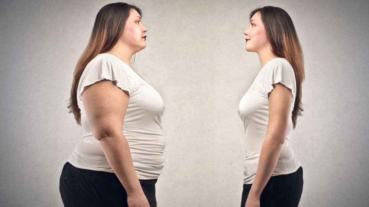 antes e depois de uma mulher obesa